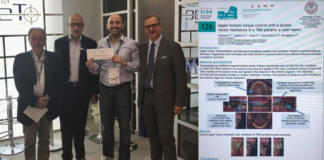 """Upper incisors torque control with a double vector mechanics in a TMD patient: a case report"" è il poster vincitore del I Premio Franco Bruno."