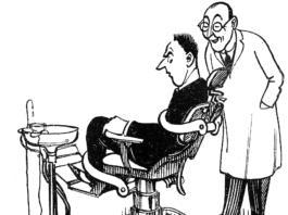 Paziente odontofobico seduto sulla poltrona del dentista in un disegno in bianco e nero